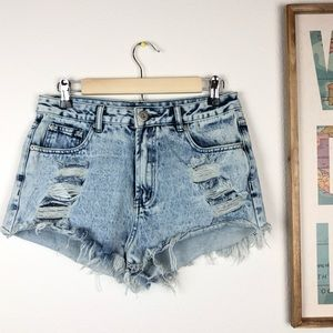 Dyed Distressed and Frayed Shorts Size 12